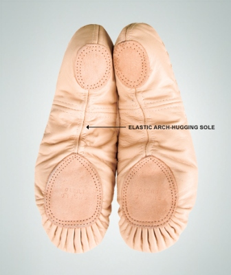 Body Wrappers Adult Split Sole Leather Pleated Ballet Slipper